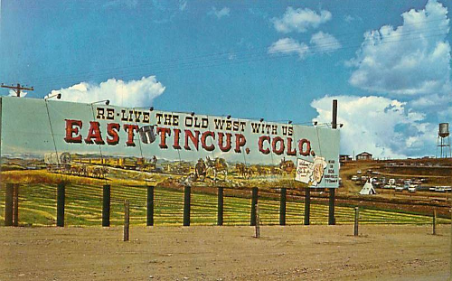Postcard of sign at East Tincup theme park in Golden, Colorado