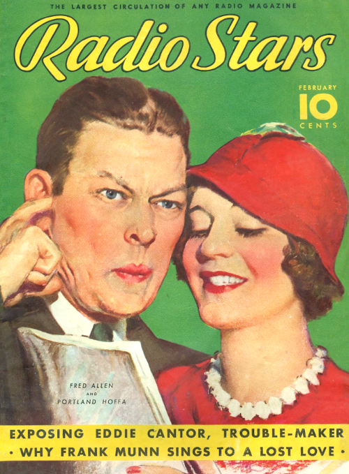 Illustration of Fred Allen and Portland Hoffa on the cover of Radio Stars magazine in February 1935