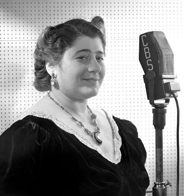 The Goldbergs radio show creator Gertrude Berg at a CBS radio microphone