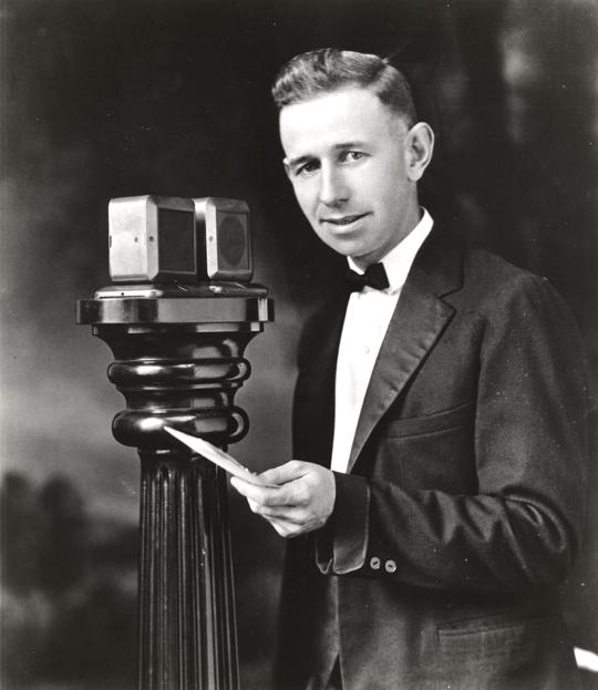 Photo of KDKA radio announcer Harold W. Arlin in 1921