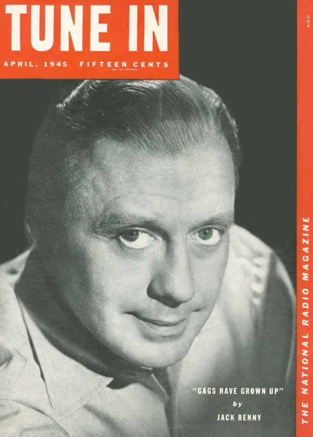 Photo of Jack Benny on the cover of the April 1945 issue of Tune In magazine