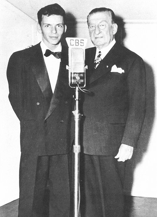 Photo of Major Bowes with Amateur Hour performer Frank Sinatra