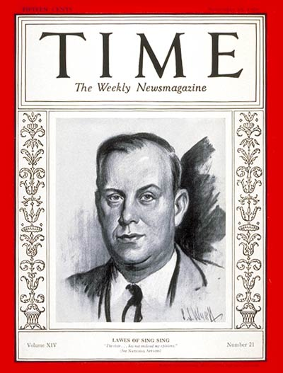 Illustration of Lewis Lawes, warden of Sing Sing Prison, on the Nov. 18, 1929, cover of Time Magazine