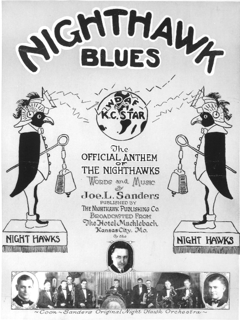 WDAF Nighthawks radio program anthem cover illustration featuring Leo Fitzpatrick and the Coon-Sanders orchestra